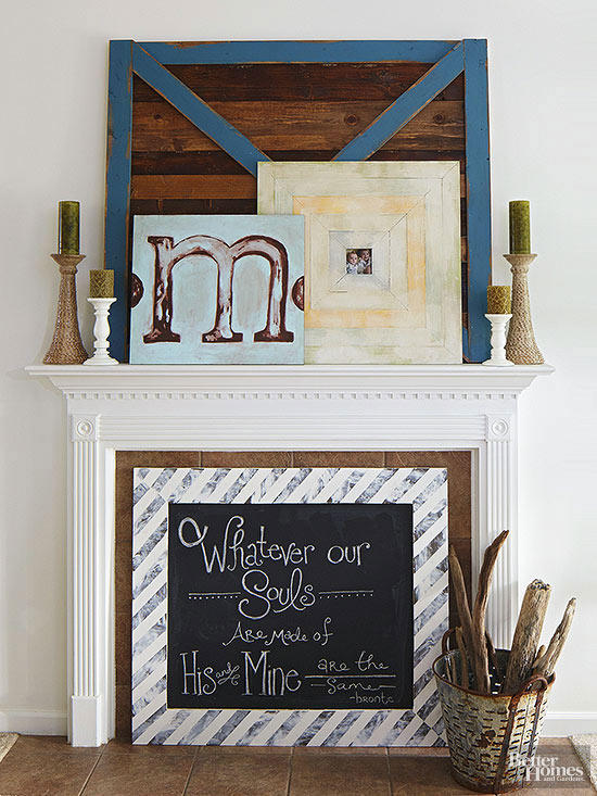 fireplace mantel overlapped artwork